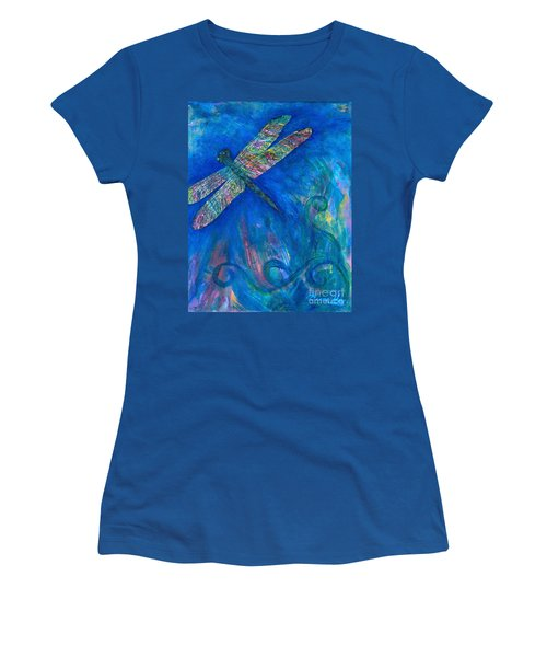 Dragonfly Flying High Women's T-Shirt (Junior Cut) by Denise Hoag