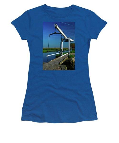 Women's T-Shirt (Junior Cut) featuring the photograph Drawbridge At Zaanse Schans by Jonah  Anderson
