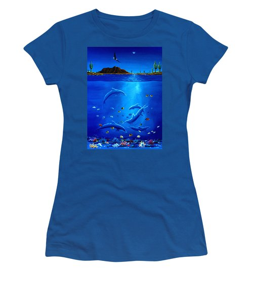 Women's T-Shirt (Junior Cut) featuring the painting Eagle Over Dolphins by Lance Headlee