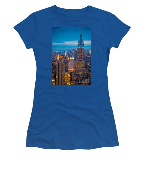 Empire State Blue Night Women's T-Shirt (Junior Cut) by Inge Johnsson