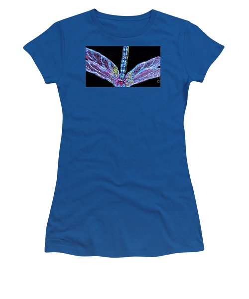 Women's T-Shirt (Junior Cut) featuring the painting Ethereal Wings Of Blue by Kimberlee Baxter