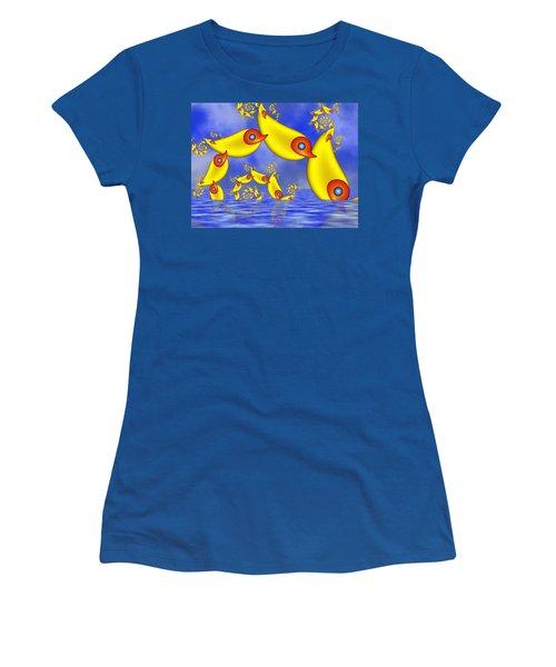 Women's T-Shirt (Junior Cut) featuring the digital art Jumping Fantasy Animals by Gabiw Art