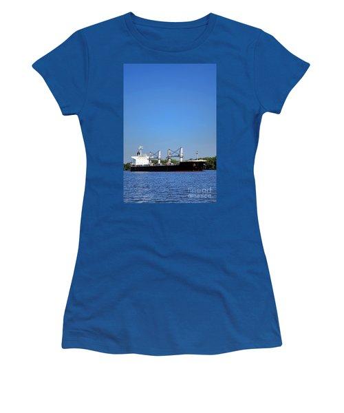 Freighter On River Women's T-Shirt