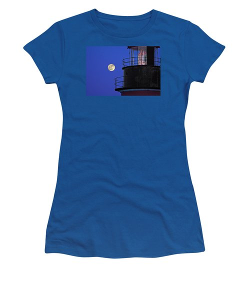 Women's T-Shirt (Junior Cut) featuring the photograph Full Moon And West Quoddy Head Lighthouse Beacon by Marty Saccone