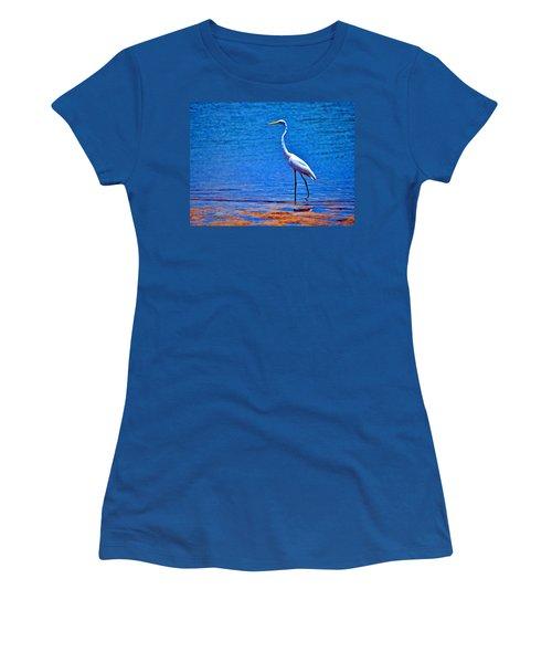 Great Egret Women's T-Shirt (Junior Cut) by Ludwig Keck