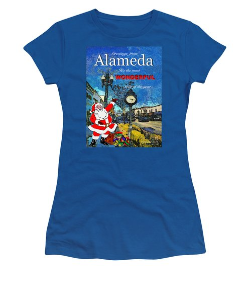 Alameda Christmas Greeting Women's T-Shirt (Junior Cut) by Linda Weinstock