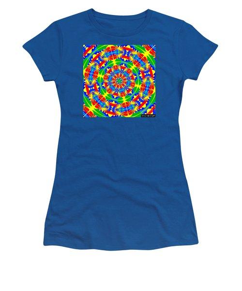 Women's T-Shirt (Junior Cut) featuring the photograph Happy Hands Mandala by Linda Weinstock