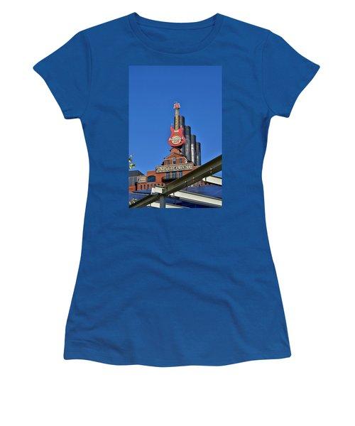 Women's T-Shirt (Junior Cut) featuring the photograph Hard Rock Cafe - Baltimore by Jean Goodwin Brooks