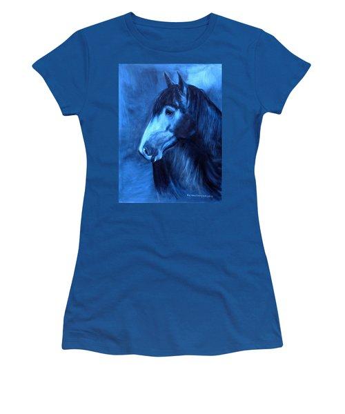 Women's T-Shirt (Junior Cut) featuring the painting Horse - Carol In Indigo by Go Van Kampen