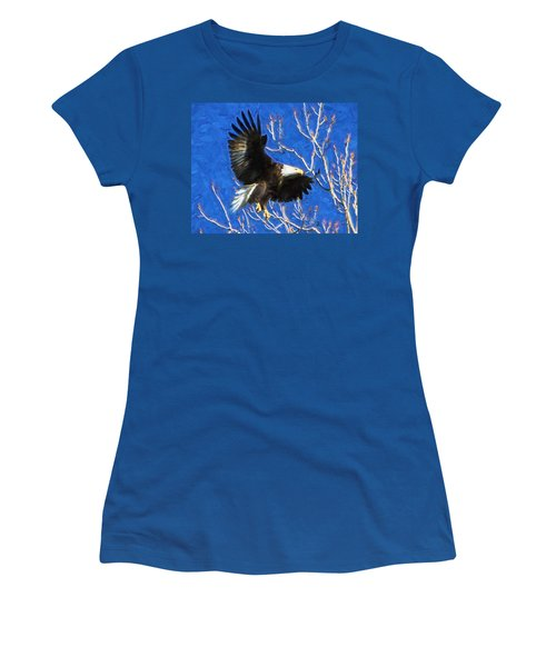Women's T-Shirt (Junior Cut) featuring the photograph Inbound Eagle by John Freidenberg