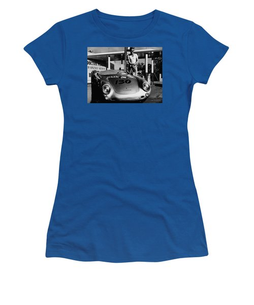 James Dean Filling His Spyder With Gas In Black And White Women's T-Shirt