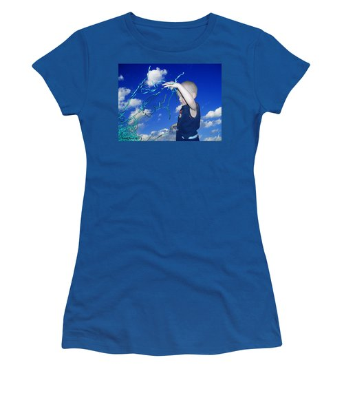 Women's T-Shirt (Junior Cut) featuring the photograph Kaleb Takes Over The World by Verana Stark
