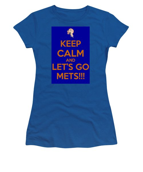 Women's T-Shirt (Junior Cut) featuring the photograph Keep Calm And Lets Go Mets by James Kirkikis