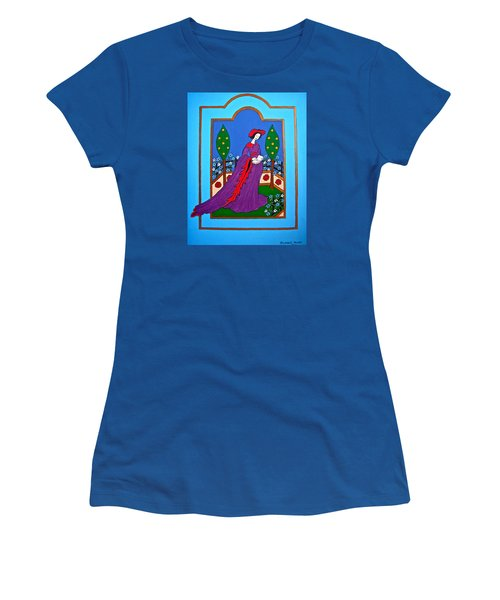 Lady In A Garden Women's T-Shirt (Junior Cut) by Stephanie Moore