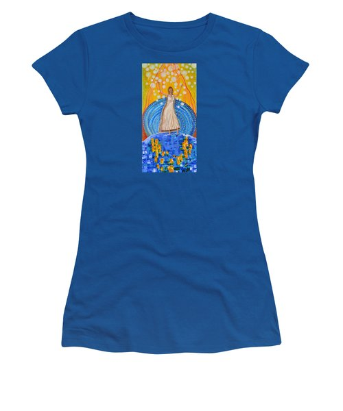 Women's T-Shirt (Junior Cut) featuring the painting Lifting The Veil by Cassie Sears