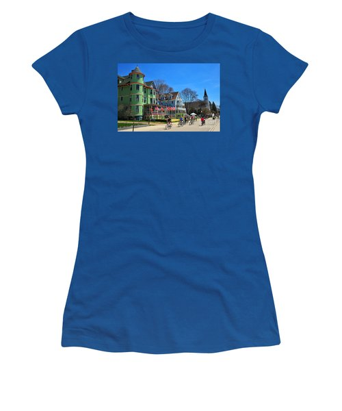 Mackinac Island Waterfront Street Women's T-Shirt (Athletic Fit)