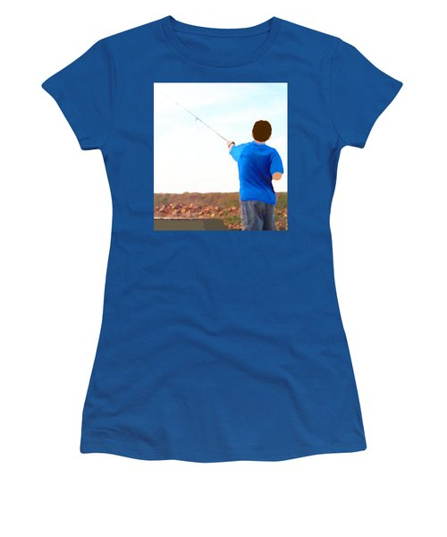 Man Fishing Women's T-Shirt (Junior Cut) by Marian Cates