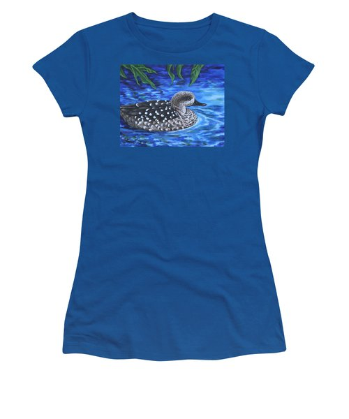 Marbled Teal Duck On The Water Women's T-Shirt (Junior Cut) by Penny Birch-Williams