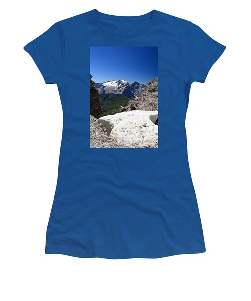 Women's T-Shirt (Junior Cut) featuring the photograph Marmolada From Saas Pordoi by Antonio Scarpi