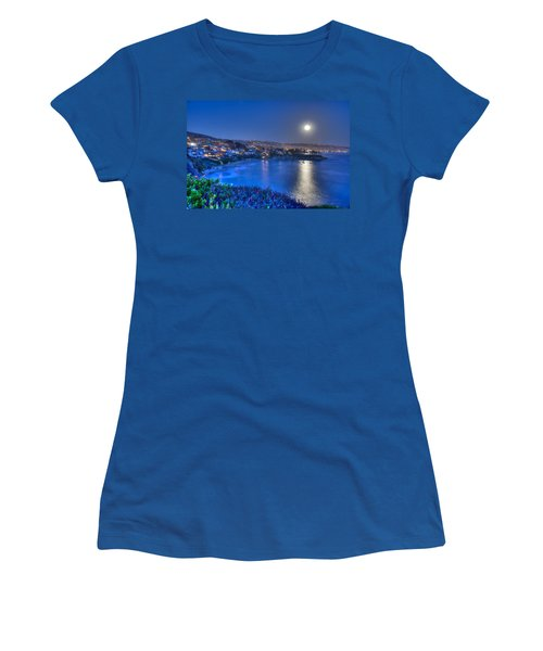Moon Over Crescent Bay Beach Women's T-Shirt