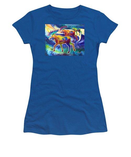 Women's T-Shirt (Junior Cut) featuring the mixed media Moose Mystique by Teresa Ascone