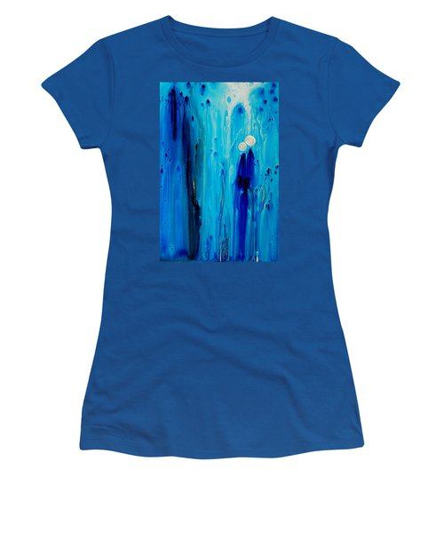 Women's T-Shirt (Athletic Fit) featuring the painting Never Alone By Sharon Cummings by Sharon Cummings