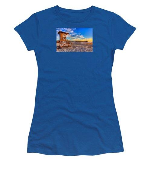 Newport Beach Pier - Wintertime  Women's T-Shirt (Junior Cut) by Jim Carrell