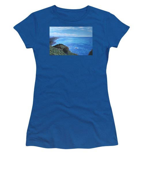 Women's T-Shirt (Junior Cut) featuring the painting Northern California Coastline by Penny Birch-Williams