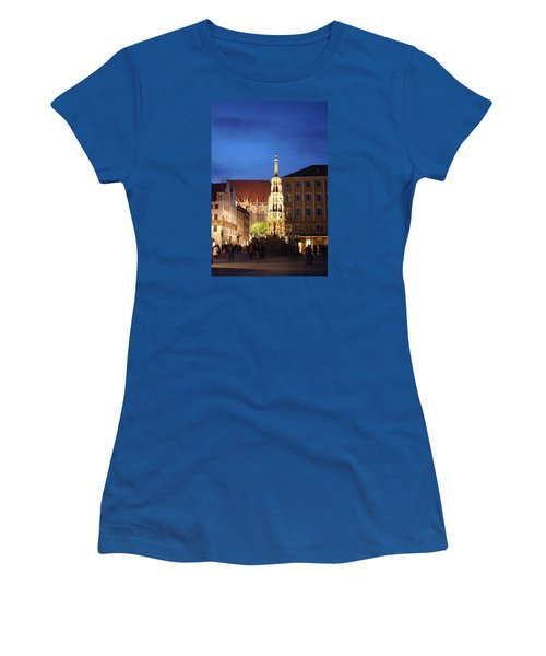 Women's T-Shirt (Junior Cut) featuring the photograph Nuernberg At Night by Heidi Poulin