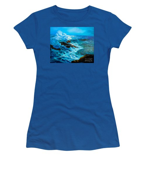 Women's T-Shirt (Junior Cut) featuring the painting Ocean Deep by Jenny Lee