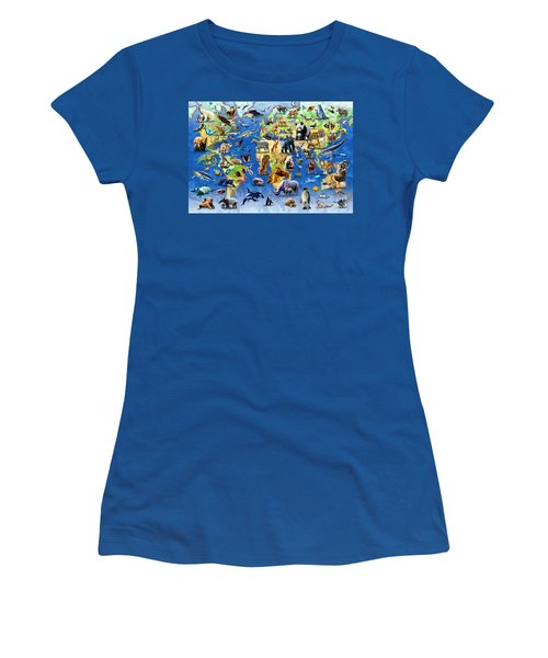 One Hundred Endangered Species Women's T-Shirt (Junior Cut) by Adrian Chesterman
