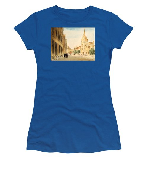 Women's T-Shirt (Athletic Fit) featuring the painting Oxford High Street by Bill Holkham