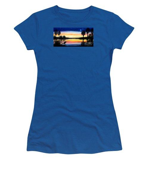 Women's T-Shirt (Junior Cut) featuring the painting Palmetto Tree Moon And Stars Low Country Sunset IIi by Patricia L Davidson