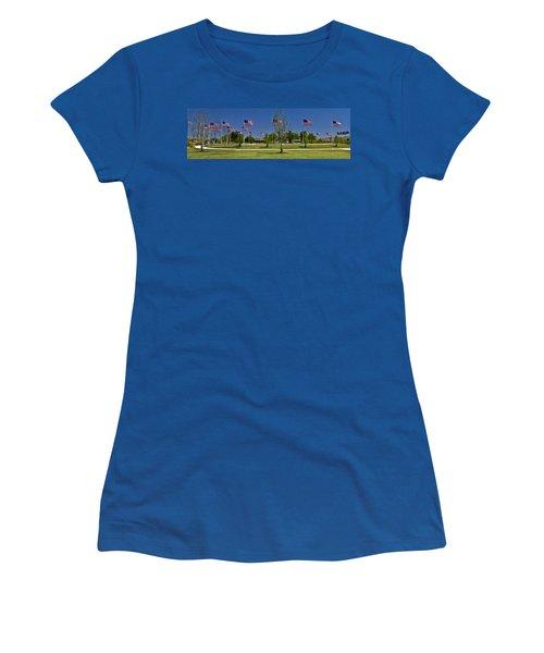 Women's T-Shirt (Junior Cut) featuring the photograph Panorama Of Flags - Veterans Memorial Park by Allen Sheffield