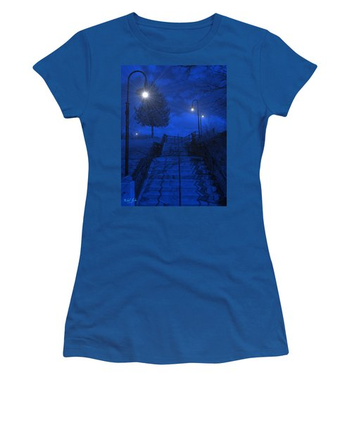 Women's T-Shirt (Junior Cut) featuring the photograph Park Stairs by Michael Rucker