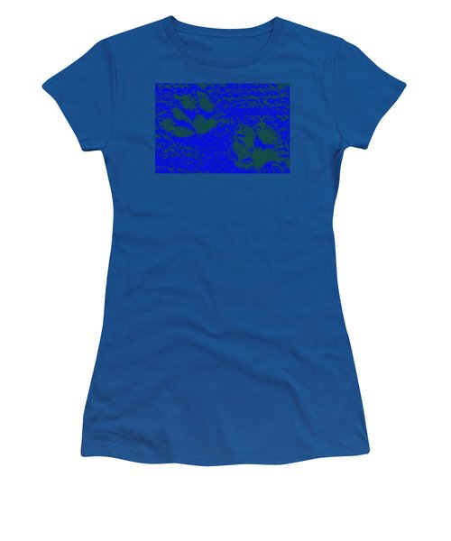 Paw Prints In Deep Blue Women's T-Shirt (Athletic Fit)
