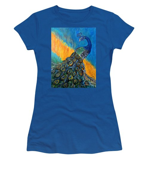 Women's T-Shirt (Junior Cut) featuring the painting Peacock Waltz #3 by Ella Kaye Dickey