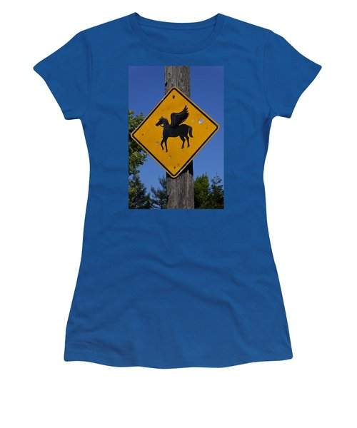Pegasus Road Sign Women's T-Shirt (Athletic Fit)