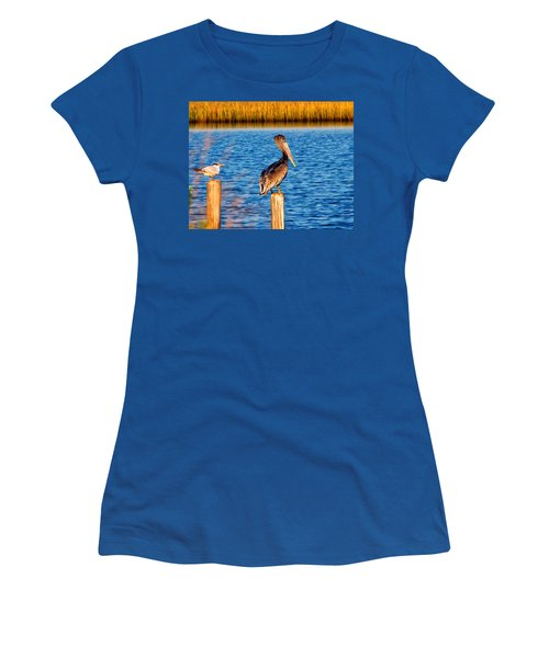 Pelican On A Pole Women's T-Shirt (Athletic Fit)