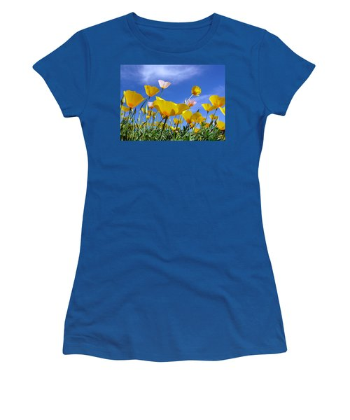 Poppies And Blue Arizona Sky Women's T-Shirt (Junior Cut) by Lucinda Walter