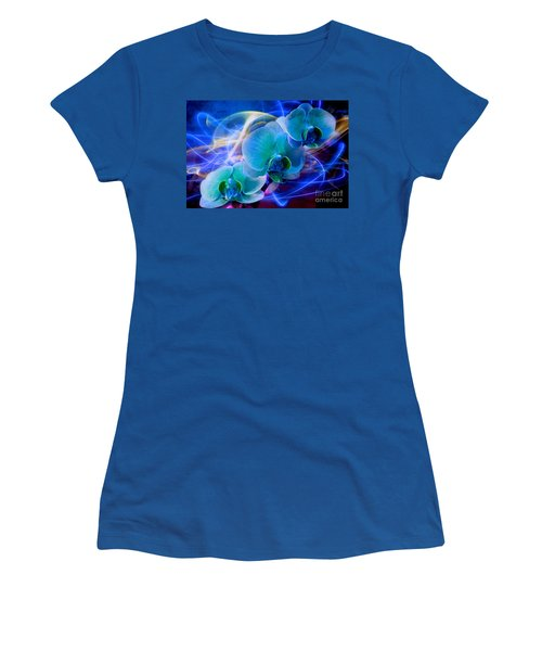 Women's T-Shirt (Junior Cut) featuring the photograph Prismatic Orchid Swirl by Judy Palkimas