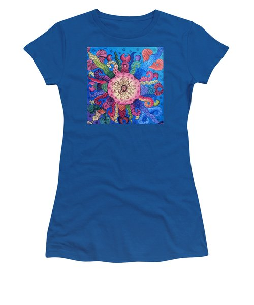 Women's T-Shirt (Junior Cut) featuring the painting Psychedelic Squid 2 by Megan Walsh