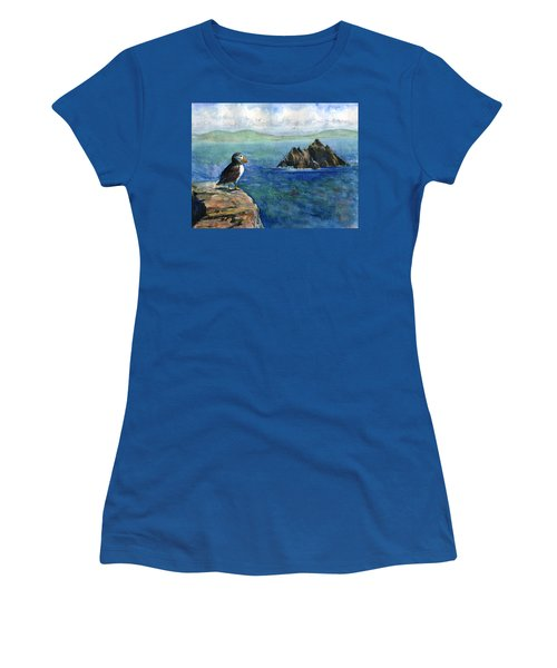 Puffin At Skellig Island Ireland Women's T-Shirt (Athletic Fit)