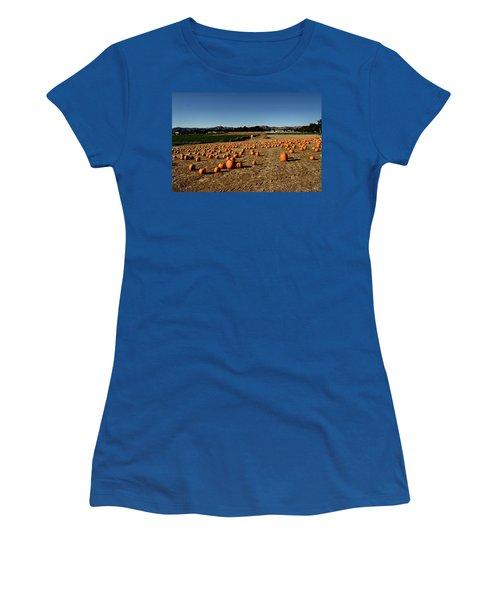 Women's T-Shirt (Junior Cut) featuring the photograph Pumpkin Field by Michael Gordon