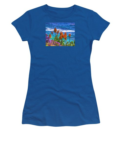Women's T-Shirt (Junior Cut) featuring the photograph Red Aloe By The Pacific by Jim Carrell