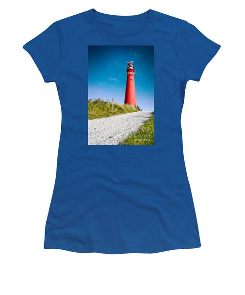 Red Lighthouse And Deep Blue Sky. Women's T-Shirt (Athletic Fit)