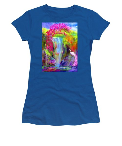 Waterfall And White Peacock, Redbud Falls Women's T-Shirt (Athletic Fit)