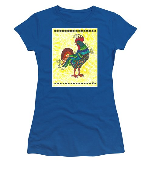 Women's T-Shirt (Junior Cut) featuring the painting Rooster Strutting His Stuff by Susie Weber