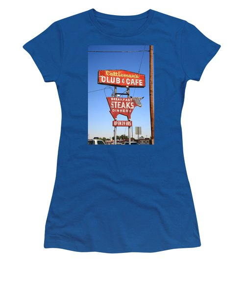 Route 66 - Cattleman's Club And Cafe Women's T-Shirt (Athletic Fit)
