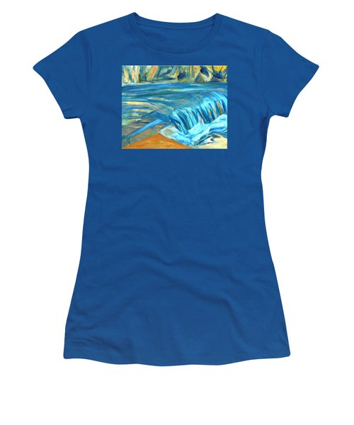 Women's T-Shirt (Junior Cut) featuring the painting Run River Run Over Rocks In The Sun by Betty Pieper